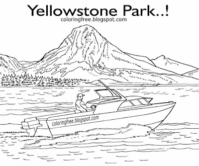 Lagoon realistic elk national park Yellowstone Lake vacation fishing boat coloring for American kids