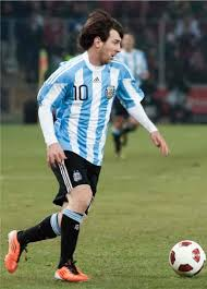Messi playing for Argentina.