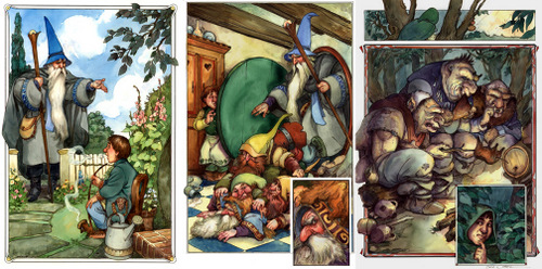 02-Good-Morning-Mr.-Baggins-Pile-of-Dwarfs-&-Trolls-Artist-David-Twenzel-Watercolour-The-Hobbit-Frodo-Baggins-Gandalf