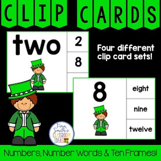 Number Clip Card Center for Numbers, Number Words & Ten Frames Leprechauns
