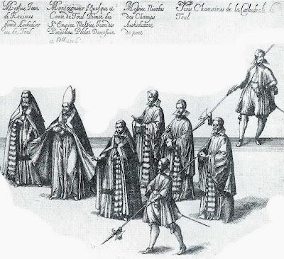 Jean des Porcelets de Maillane dans le cortège lors des funérailles du duc de Lorraine Charles III
