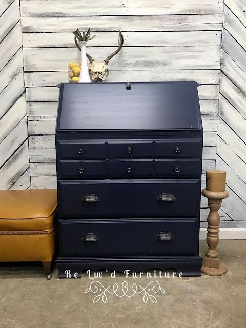 blue secretary makeover