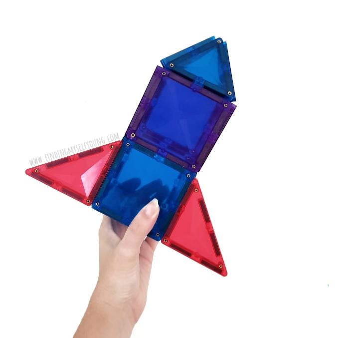 connetix magnetic tile rocket ship being held up