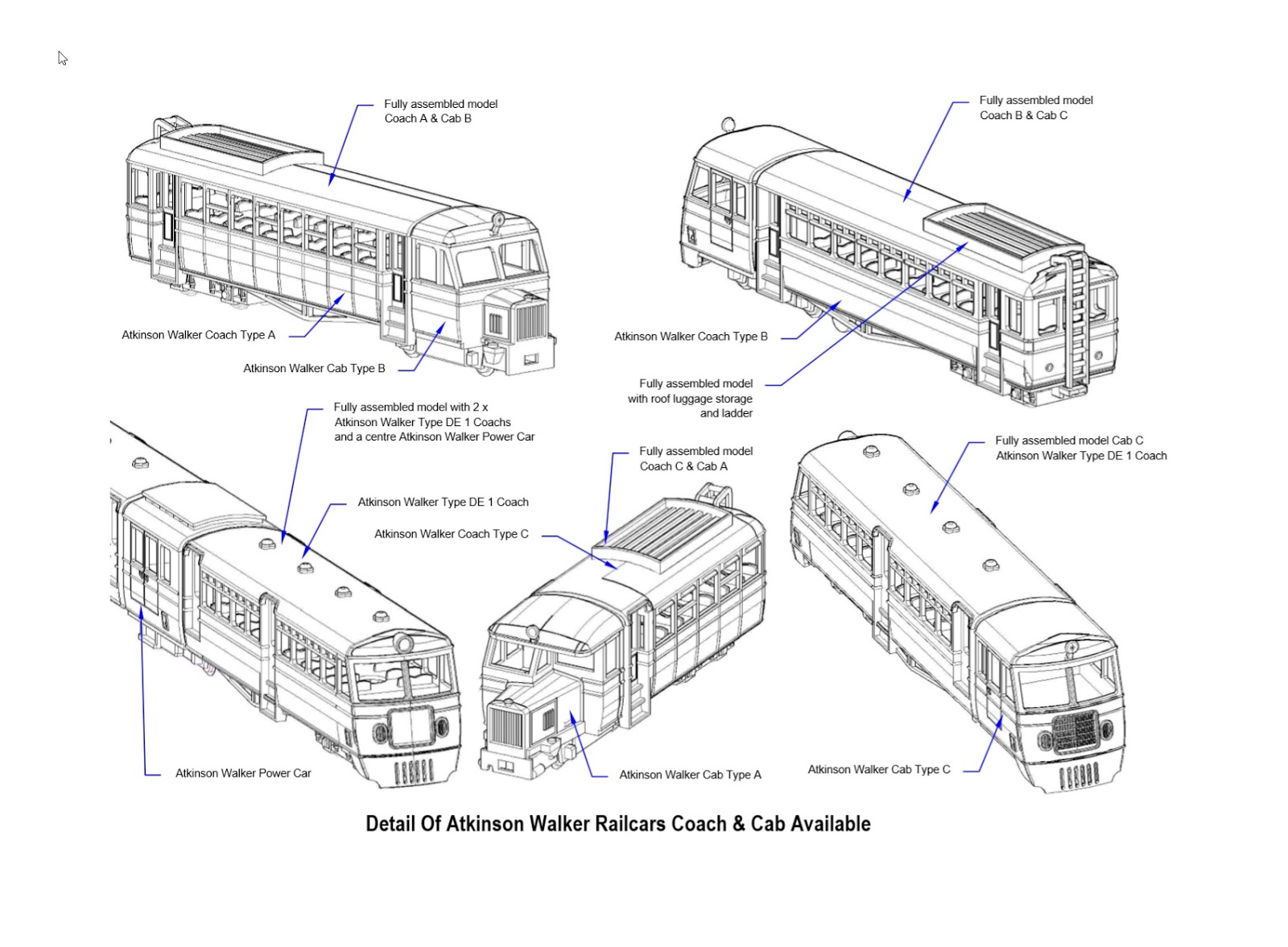 Model Engine Works 009 Atkinson Walker Rail Cars