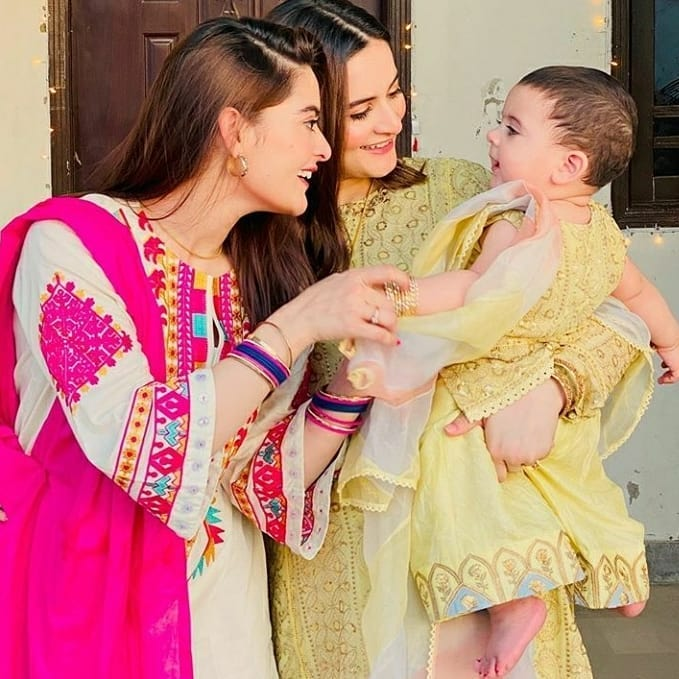Aiman Khan and Muneeb Butt Beautiful Pictures on Eid ul Fitr with Family