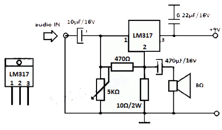 LM317 Simple Audio Amplifier Circuits DIY Circuit