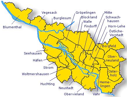 Bundesland Bremen Karte.Bremen Karte Von Bundesländer Landkarte Deutschland Regionen