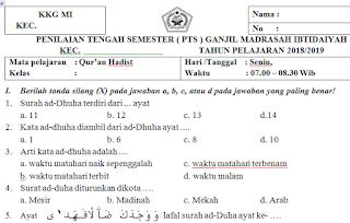 Soal PTS/UTS Qur'an Hadits Kelas 5 Madrasah Ibtidaiyah Semester Ganjil Kurikulum 2013
