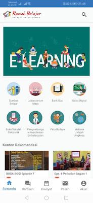 Tampilan aplikasi rumah belajar