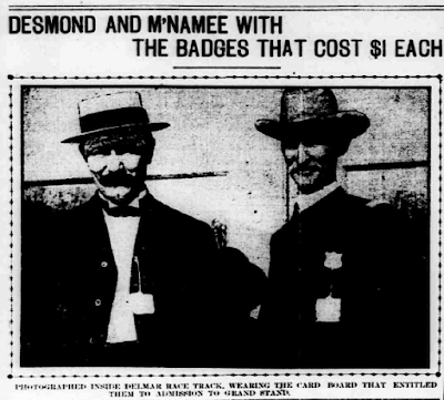 St. Louis Post Dispatch: St. Louis City Policemen Desmond and McNamee with Delmar Race Track Admission Badges