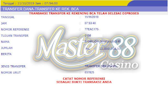 Bukti Transfer MasterCasino88 Rp 22.000.000