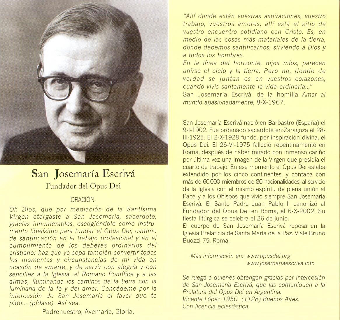 Estampa Frases Y Oración De San José María Escrivá Directorio De La Iglesia Católica