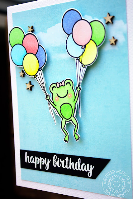 Sunny Studio Stamps: Froggy Friends & Oceans Of Joy Happy Frog Birthday Card by Vanessa Menhorn