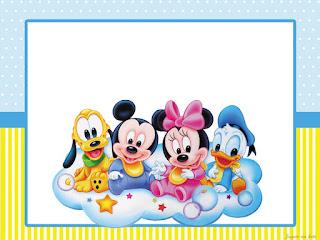 Etiquetas para Imprimir Gratis de Bebés Disney en Celeste y Amarillo.