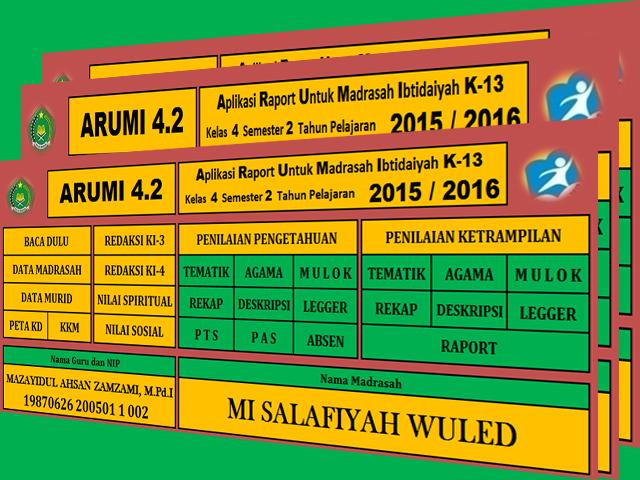 Download Aplikasi Raport ARUMI Kelas 1 2 4 5 Madrasah Ibtidaiyah Kurikulum 2013 Format Excel