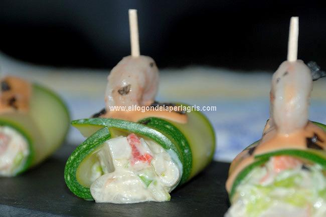 Detalle Canelones de calabacín rellenos de salpicón de marisco