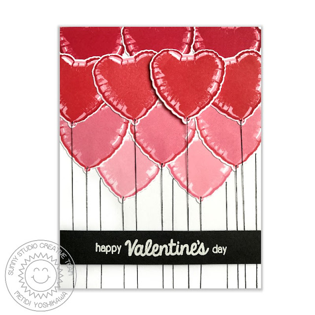 Sunny Studio Stamps: Bold Balloons Color Layering Ombre Valentine's Day Card by Mendi Yoshikawa