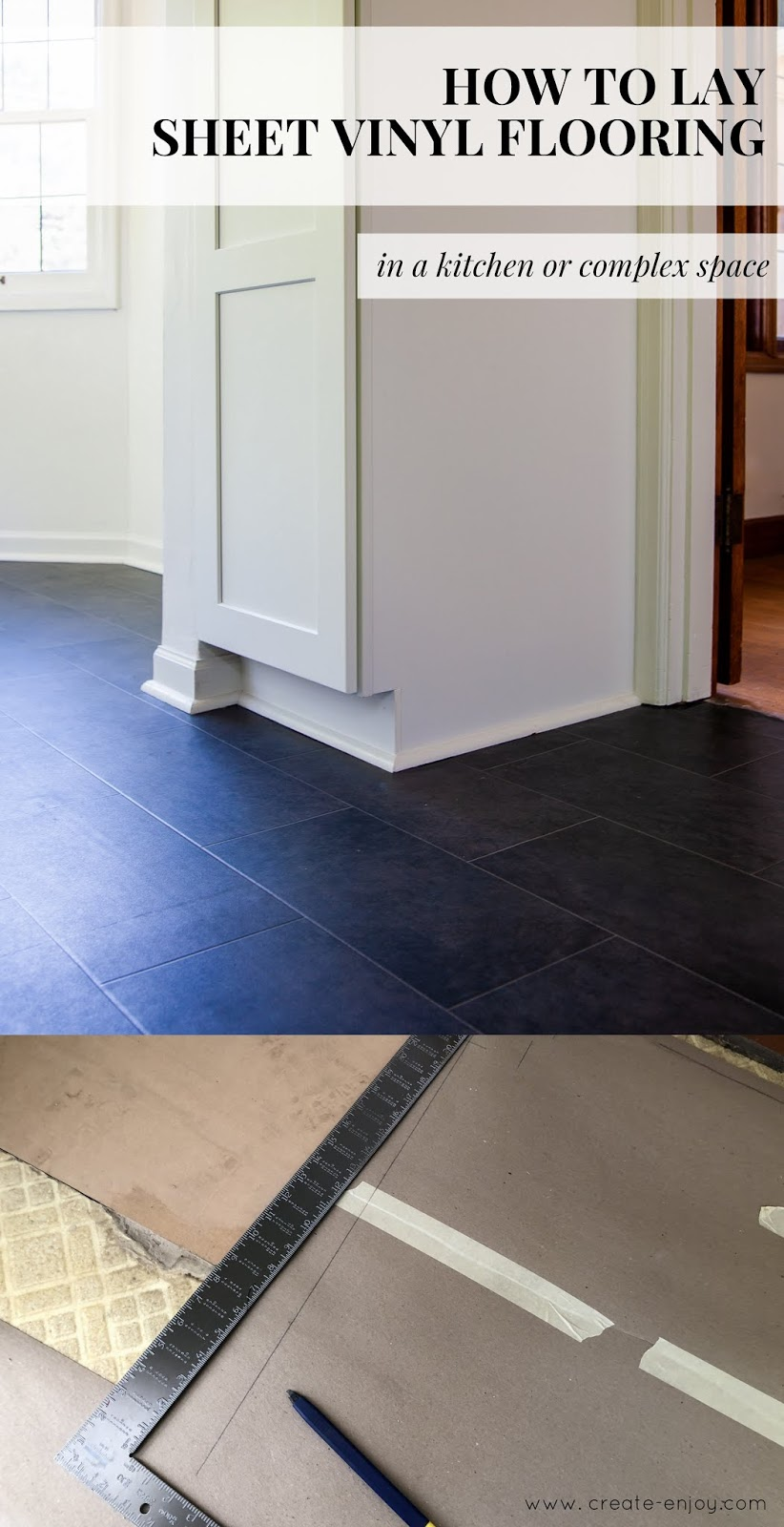 Linoleum Für Bad How To Lay Sheet Vinyl Flooring In A Complex, Larger Space. Our Diy Kitchen Reno Slate-look Vinyl / Create / Enjoy
