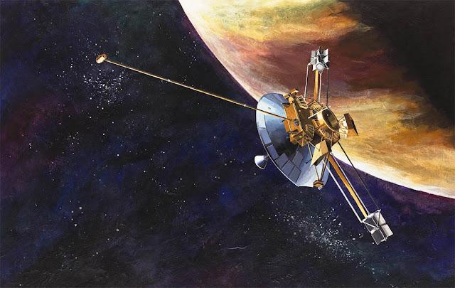 Ilustração artística da sonda Pioneer 10 se aproximando de Júpiter em 1973