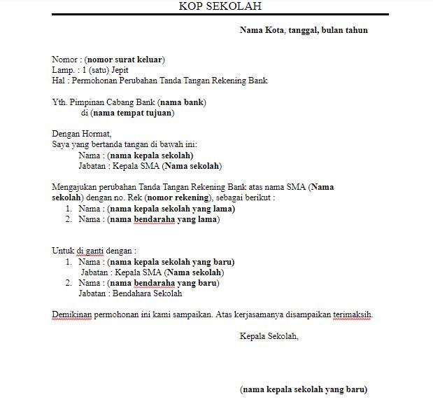 Surat Permohonan Specimen Rekening Bank