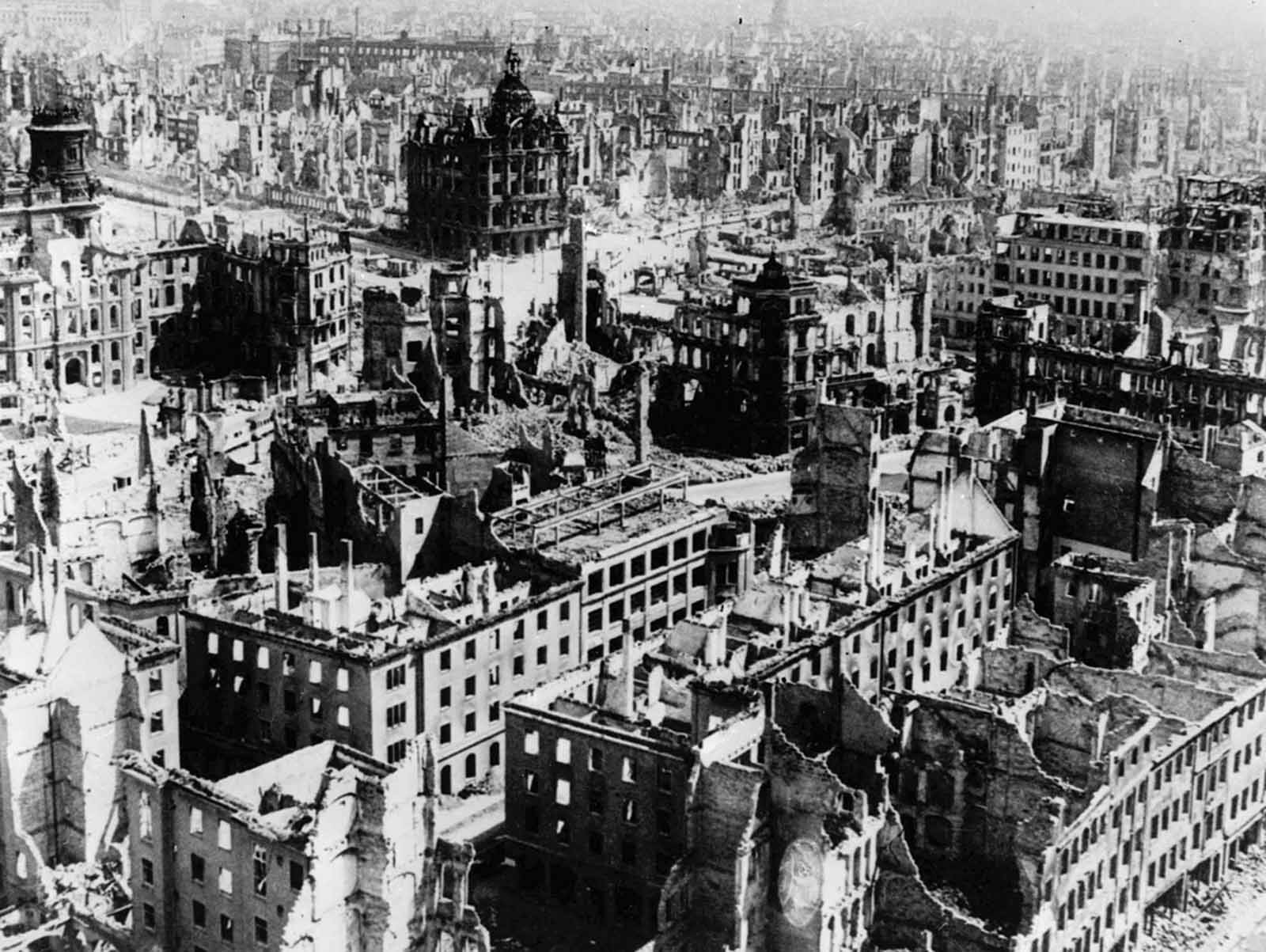 The demolished city of Dresden.