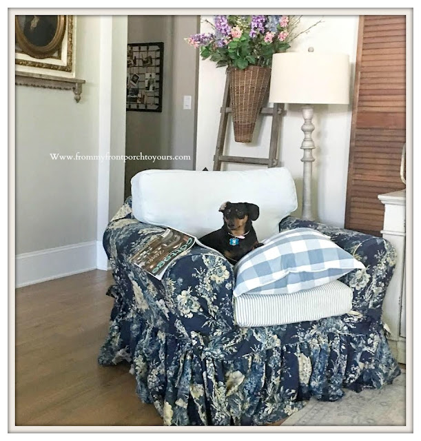 French-Country-Farmhouse-Living room Furniture & Decor-Ballad Bouquet-slip Cover-Blue & White-Buffalo Check-Ektorp Chair- From My Front Porch To Yours