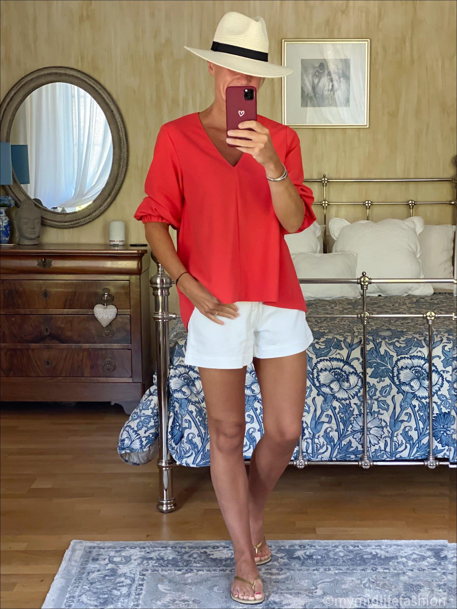 my midlife fashion, Baukjen Elina Organic cotton shorts, Tibi three quarter sleeve top, Zara Panama hat, havaianas slim fit gold flip flops