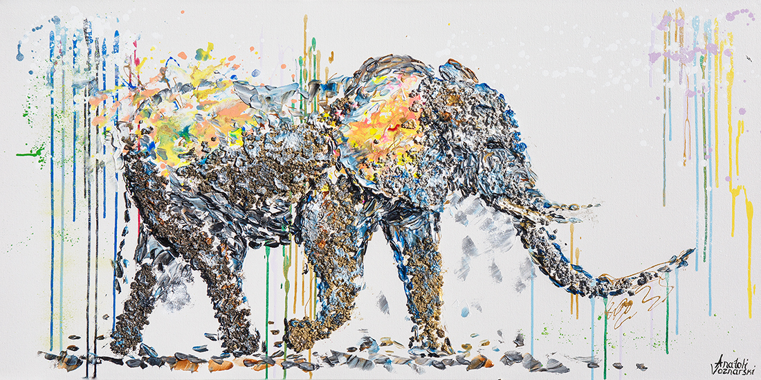 elephant acrylic painting, elephant pointillism, heavy textured elephant painting, mixed elephant, unique elephant painting on canvas, anatoli elephant, anatoli voznarski oil, 3D elephant painting, elephant print, animal painting, abstract oil elephant,contemporary elephant,elephant
