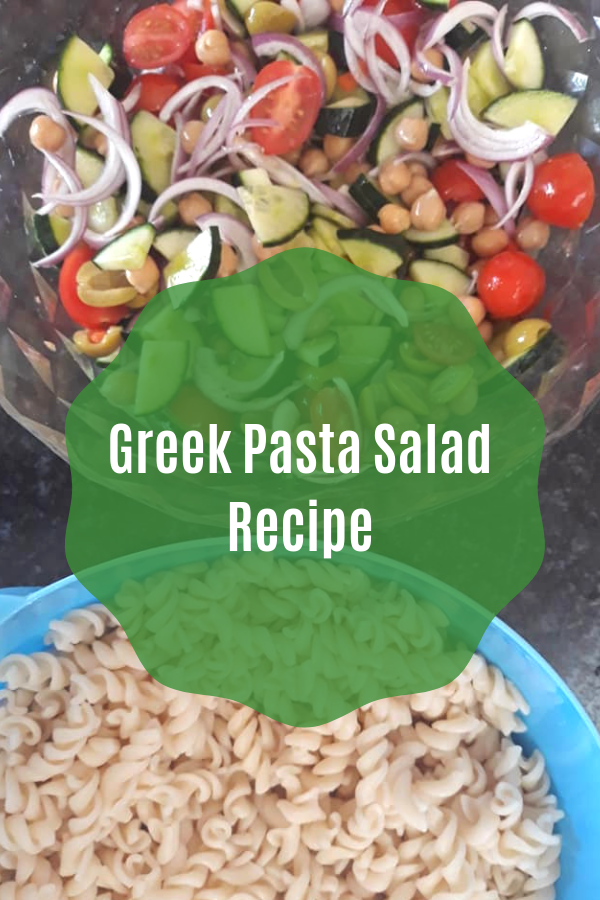 Vegan Greek pasta salad recipe to add to your vegan dinner ideas