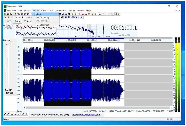 Wavosaur : Επεξεργασία  ήχου σε πραγματικό χρόνο