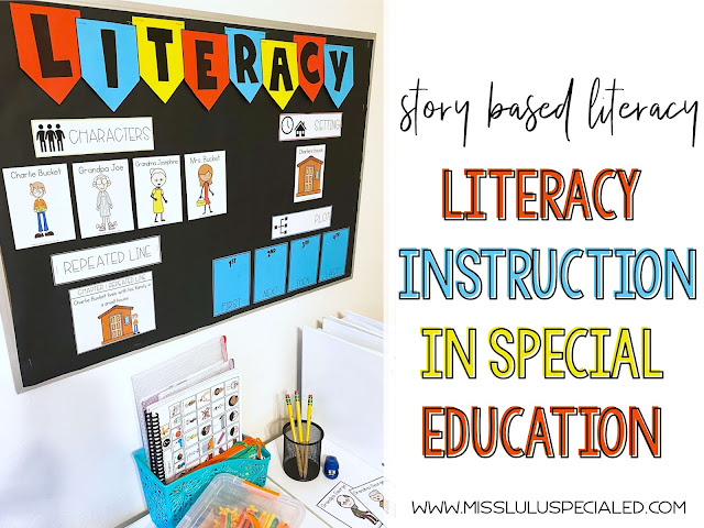 Story based literacy bulletin board with visual supports in a special education classroom