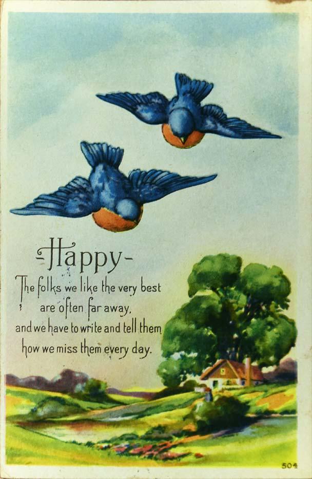 1920s Vintage bluebird postcard 504