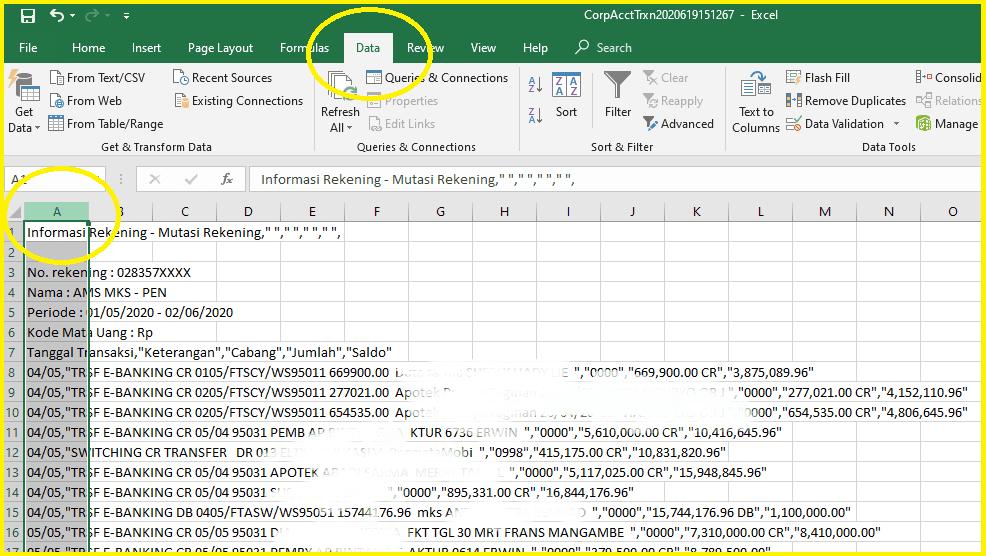 Merubah atau Membuka File CSV Di Excel