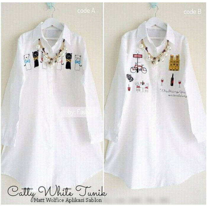 jual catty white tunik