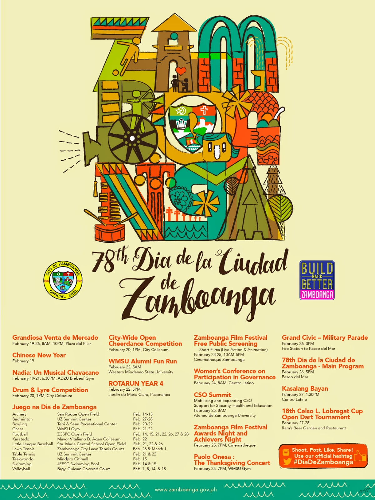 Dia de Zamboanga 2015 Poster Design Schedule List of Activities