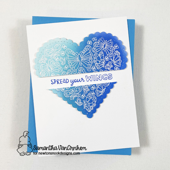 Spread Your Wings Card by Samantha VanArnhem | Heartfelt Butterflies Stamp Set by Newton's Nook Designs #newtonsnook