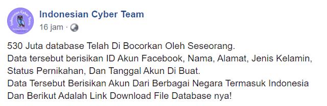 530 Juta database pengguna Facebook di bocorkan oleh hacker