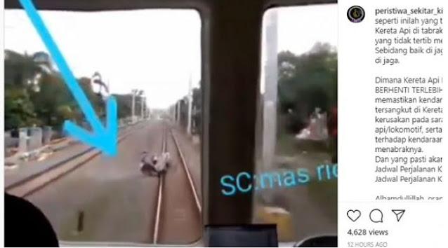 Detik-detik Kereta Tabrak Sepeda Rombong Bapak-bapak, Seisi Gerbong Panik
