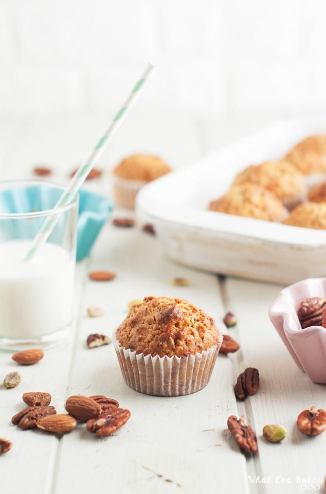 Muffins de avena, semillas y frutos secos