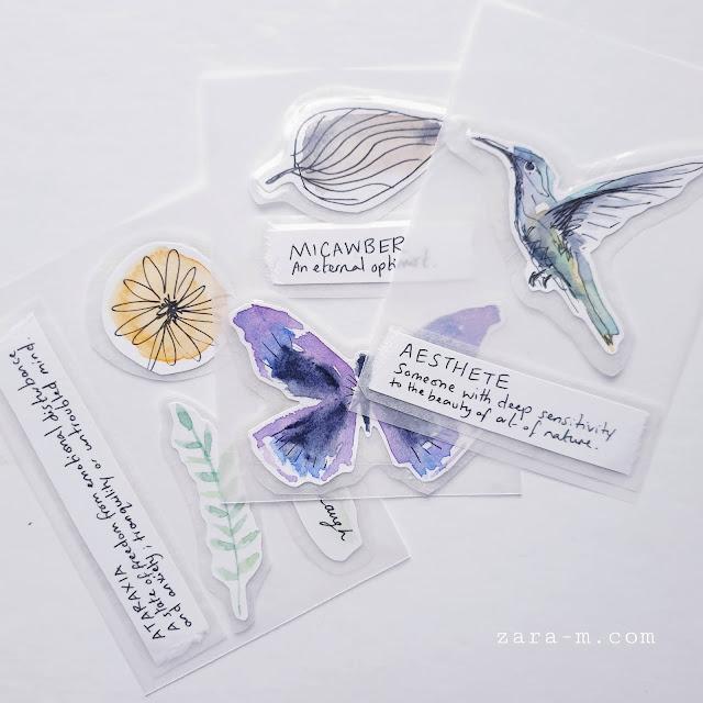 Watercolour Humming Bird Stickers - journal, planner, junk journal, scrapbook