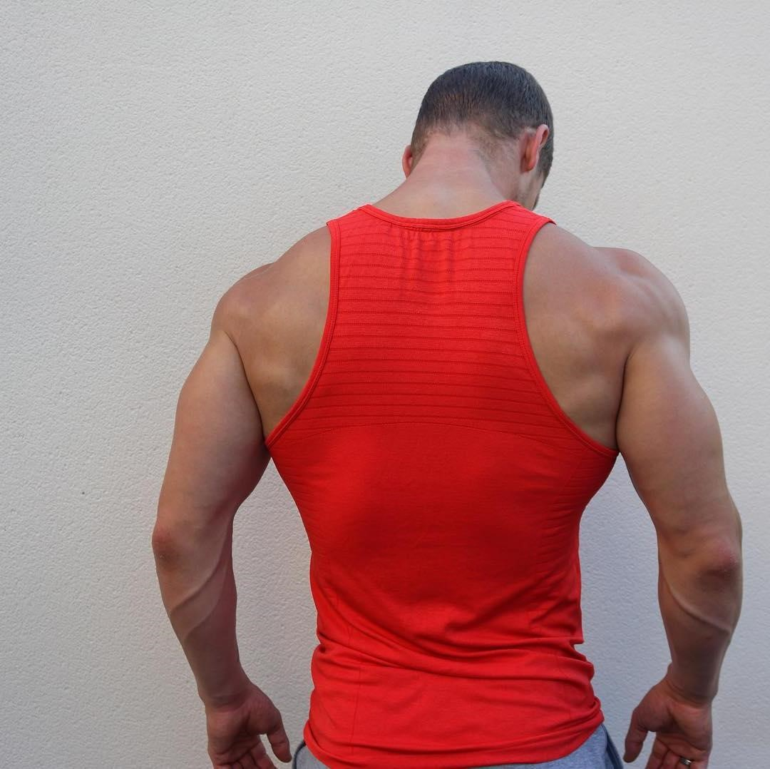 huge-beefy-muscle-men-strong-back-wide-shoulders-swole-triceps-sexy-veiny-arms-red-shirt