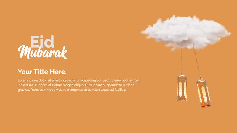 Eid Mubarak Design Concept Template With Cloud Hanging Lantern