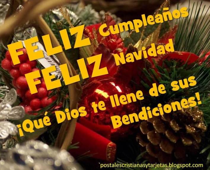 Postal feliz cumplea os y feliz navidad postales - Felicitaciones de navidad cristianas ...