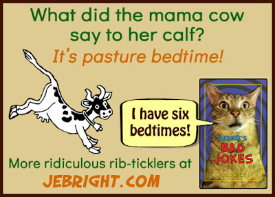 What did the mama cow say to her calf? It's pasture bedtime! From Bernie's Bad Jokes by J. E. Bright. More ridiculous rib-ticklers at jebright.com. Bernie says: I have six bedtimes!