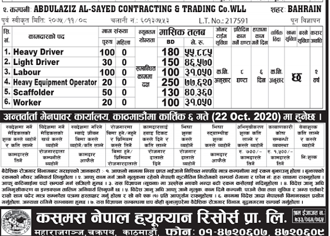 Jobs in Bahrain for Nepali, Salary Up to NRs 77,620