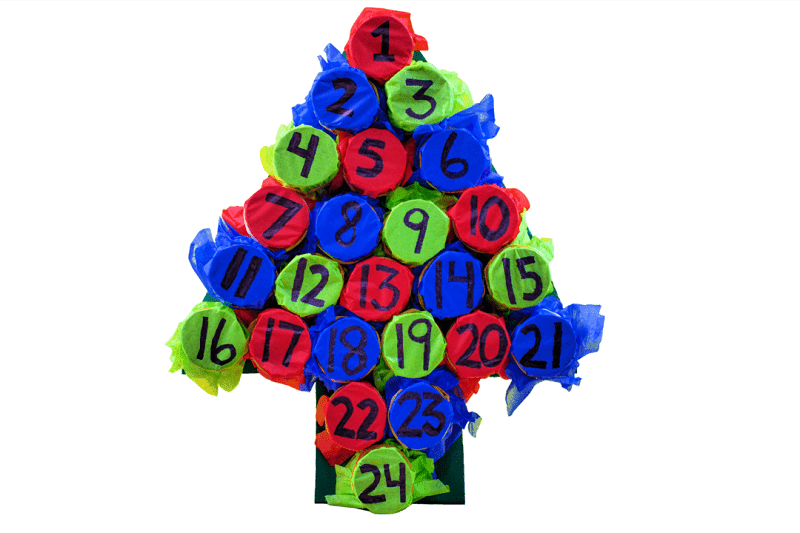 diy toilet paper roll christmas tree advent calendar