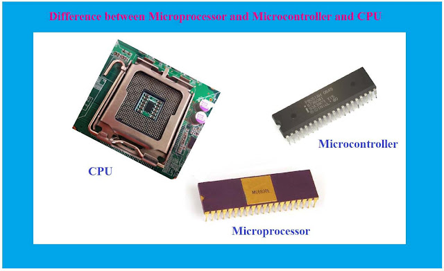 Difference between Microprocessor and Microcontroller and CPU, Difference between Microprocessor and Microcontroller, Difference between Microprocessor and CPU