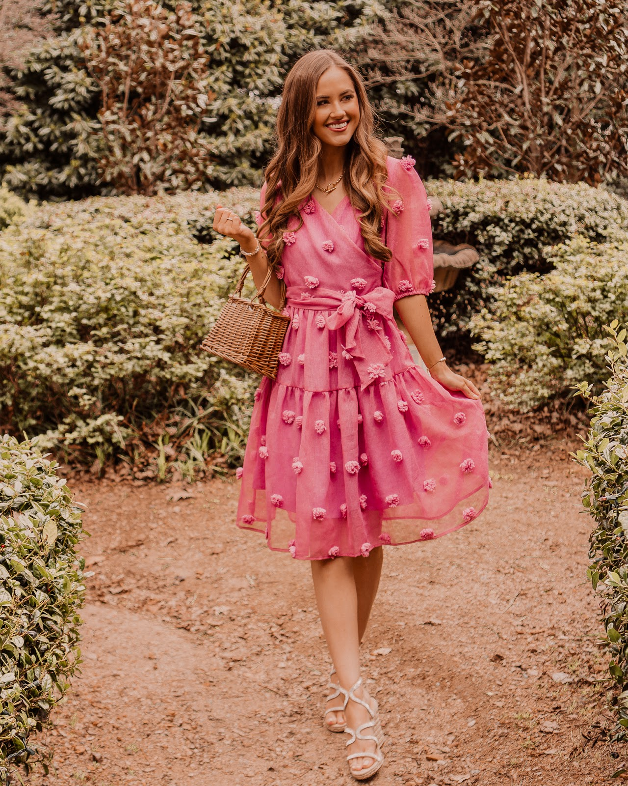 Pink pom pom dress, wedges, basket bag