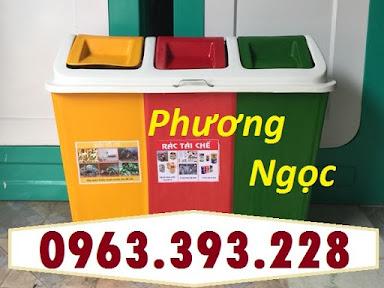 Thùng rác 3 ngăn phân loại rác, thùng rác 3 ngăn nhựa composite TR3N6