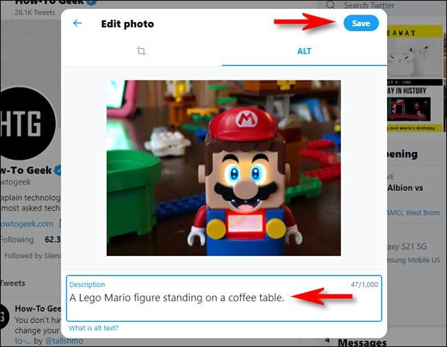 """على موقع Twitter ، أدخل وصفًا للنص البديل أسفل الصورة ، ثم انقر على """"حفظ""""."""